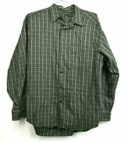 Banana Republic Mens Large Green Plaid Long Sleeve Cotton Work Casual Button Up
