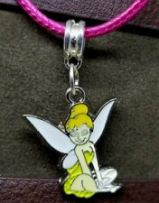 Tinkerbell Charm Necklace with Hot Pink Rolled Cord