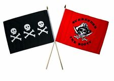 "12x18 12""x18"" Wholesale Combo Pirate Chris Condent & Red Surrender Stick Flag"