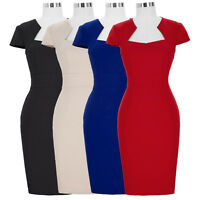 Women's Cap Sleeve Bodycon 50s Vintage Pinup Pencil Wiggle Cocktail Party Dress