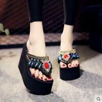 New Women's Flip Flop thong Rhinestone Slip On Platform Wedge Heel Sandals Shoes