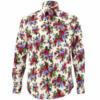 Men's Loud Shirt Retro Psychedelic Funky Party TAILORED FIT Red Blue Roses