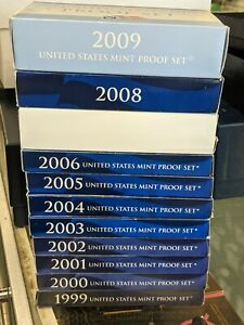 1999 to 2009 U.S. Proof Sets 127 S-Mint Coins FREE SHIPPING
