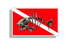 Skull Bone Fish Diver Down Sticker Scuba Diving Dive Decal Car Truck Laptop Boat