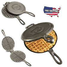 Waffle Maker Cast Iron Pan Stove Camping Indoor Outdoor Cooking Kitchen Campfire