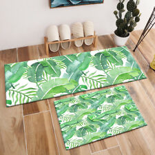 Watercolor Tropical Banana Palm Leaves Area Rugs Bedroom Kitchen Floor Mat Rug