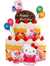 Sanrio HELLO KITTY Happy Birthday Greeting Card 3D Cake rabbit ballon strawberry