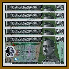 Guatemala 1 Quetzal x 5 Pcs, 2012 P-115 Polymer Unc