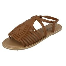 Ladies Leather Collection Gladiator Style Sling Back Strap Summer Sandal F0R0159