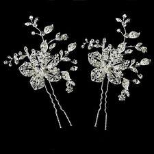 2 Haarnadeln Blumen Blätter Hochzeit Strass Tiara Diadem klar Braut Haarschmuck
