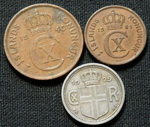 ICELAND, 3 RARE DIFF TYPE CIRC COINS: 1 EYRIR 1931, 2 AURAR 1940, 10 AURAR 1929