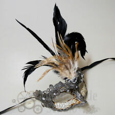 Womens Venetian Brocade Lace Feathered Mardi Gras Party Masquerade Mask [Silver]