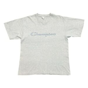 Champion Logo Tshirt | Vintage 90s Single Stitch Retro Sportswear Grey VTG