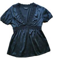 BCBG MAXAZARIA Womens Top Black Short Sleeve V-neck Silk Blouse w Ruffles Size M