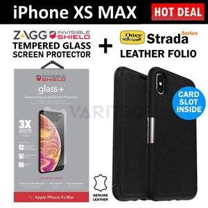 Zagg iPhone XS MAX Glass Screen Protector + Otterbox Leather Wallet Case Cover