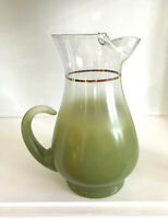 "Vintage MCM BLENDO Glass Green 10"" Pitcher Carafe 1950s/gold Band/Retro/ice Lip"