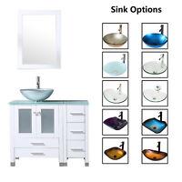 "36"" Bathroom Vanity Cabinet & Tempered Glass Vessel Sink Bowl Faucet White Wood"