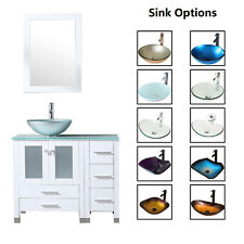 "36"" Bathroom Vanity Cabinet & Tempered Glass Vessel Sink Bowl Faucet White Wood"