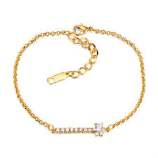 Fashion Womens Yellow Gold Plated clear crystal bow Bling Charm Bracelets