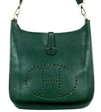 HERMES Vert Fonce Fjord Leather EVELYNE I 33 Shoulder Bag GHW
