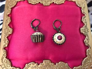Betsey Johnson Vintage Goes To Paris Tart Custard Cup Cupcake Dessert Earrings