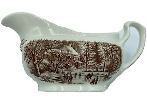 Currier & Ives Early Winter Brown Gravy Boat Server Made In England Vintage