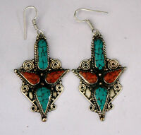 ethnic handmade classic hook sterling silver earrings tops turquoise ER31