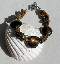 "Gold Tiger Eye & Golden Silverfoil Beaded Gemstone Bracelet ""Harvest Gold"""