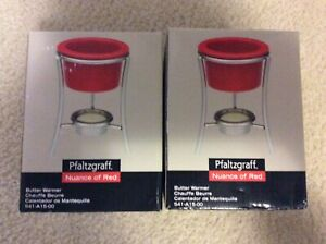 """Pfaltzgraff """"Nuance of Red"""" Set of 2 Butter Warmers-Retired-NEW in BOX"""