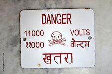 1900's old porcelain enamel sign board danger electric