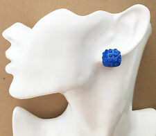 Gorgeous Royal Blue Button Stud Diamante CLIP ON Earrings *NEW* from a UK seller