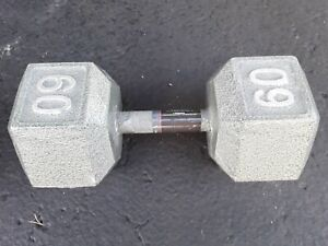 Weider 60 lb Cast Iron Steel Hex Dumbbell Barbell Free Weights Home Gym Fitness