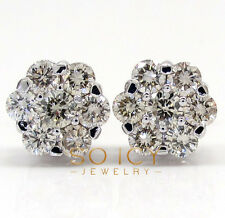 1.85ct 14k White Gold i1 Round Cut Diamond Stud Cluster Earrings Mens Ladies