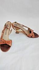 Peter Kaiser Women's Tan 9.5 9 1/2 Spotted Open Peep Toe Slingback Wedges Heels