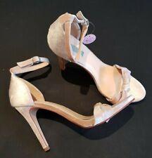 Primark size 7 (40/41) dusky pink velvet buckle ankle strap stiletto heels