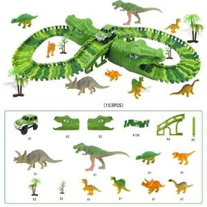 Kids Dinosaur Race Car Track with Flexible Track Dino Toys For Kids