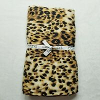 "Cozys Throw Blanket Leopard Animal Print black reversible rayon blend 60""x54"""