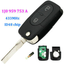 NEW UNCUT FLIP KEY REMOTE FOB TRANSMITTER FOR VW WITH CHIP ID48 : 1J0 959 753 A