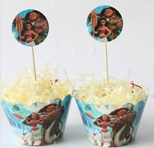24pcs/lot Moana Paper Cup cake Toppers Birthday Decoration (12 wraps+12 topper)