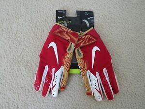 Nike Authentic NFL SAN FRANCISCO 49ERS VAPOR JET GLOVES MEN L New Sweet!