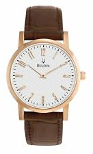 Bulova Men's White Dial Brown Leather Band Rose Gold Tone Watch 97A106