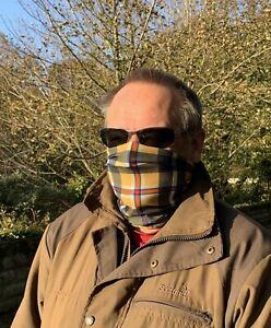 Cornish Tartan Face Mask Travel Mask Multi Function Snood 100% Microfibre. New