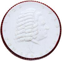 Meissen - JOHANN SEBASTIAN BACH - weiße Porzellan-Medaille 1923 - roter Rand