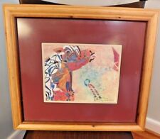 Carousel horse painting blonde tone wood frame Original signed Cholly Easterling