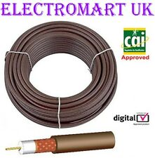 CT100 DIGITAL TV AERIAL SATELLITE SKY VIRGIN FREEVIEW COAX CABLE 40M BROWN