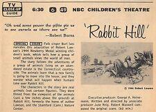 1967 TV AD~RABBIT RUN~ROBERT LAWSON~NBC CHILDREN'S THEATRE~STAMFORD,CONN