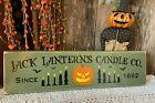 Primitive Vintage Handcrafted Pumpkin JACK LANTERN'S CANDLE CO. Halloween Sign