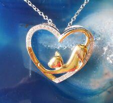 colgante de gato bañado en oro en el Corazón Cristales Plata Esterlina 925