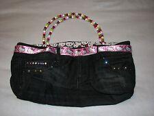 Sanrio Hello Kitty Handbag Purse Beaded Denim Jeans Handmade Cloth Ribbon Studs
