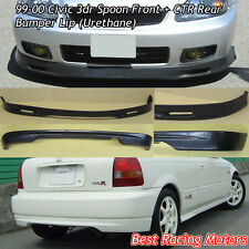 SPN Style Front + CTR Rear Bumper Lip (Urethane) Fit 99-00 Civic 3dr